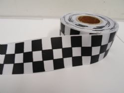 Black 2 metres or 20 metre roll x 38mm Grosgrain ribbon square chequered block race track finish line